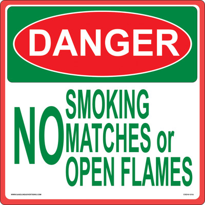CVD10-121 Smoking & Flammable Warning Decal - DANGER NO SMOKING...
