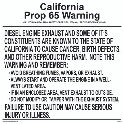 CVD10-138 Health Warning & Safety Decal - CALIFORNIA PROP...