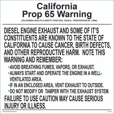 CVD10-138 Health Warning & Safety Decal - CALIFORNIA PROP...