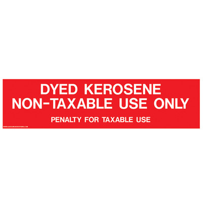D-335 Pump Ad. Panel Decal - DYED KEROSENE NON-TAXABLE USE ONLY