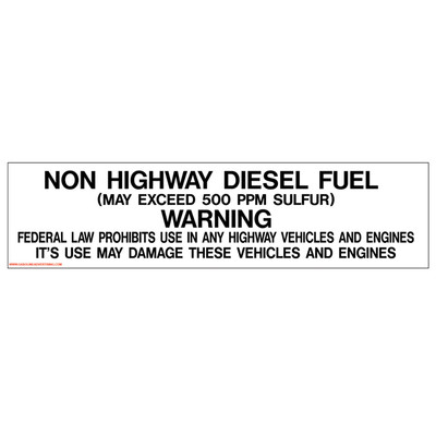 D-351 Pump Ad. Panel Decal - NON HIGHWAY DIESEL...