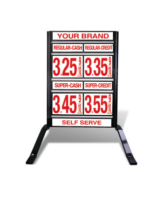 "2 GRADES VXS220 SERIES  CASH/CREDIT FUEL PRICE SIGN WITH 12"" FLIP DIGITS VERSA DISPLAY - FREESTANDING - CURB STAND - MONUMENT STYLE"