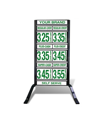 "3 GRADES VXS320 SERIES CASH/CREDIT FUEL PRICE SIGN WITH 12"" FLIP DIGITS VERSA DISPLAY - FREESTANDING - CURB STAND - MONUMENT STYLE"