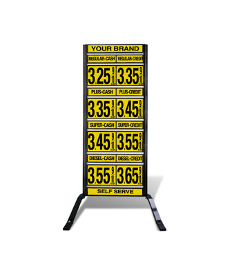 "4 GRADES VXS420 SERIES CASH/CREDIT FUEL PRICE SIGN WITH 12"" FLIP DIGITS VERSA DISPLAY - FREESTANDING - CURB STAND - MONUMENT STYLE"
