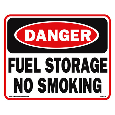 CVD11-23 Smoking & Flammable Warning Decal - DANGER FUEL STORAGE...