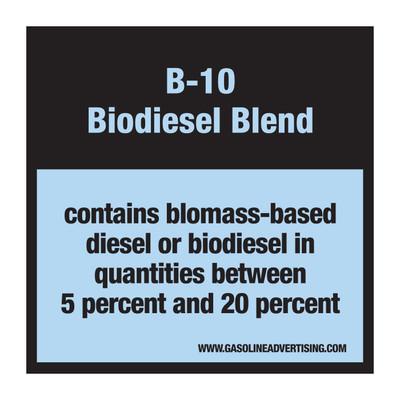 D-30-B10 Pump Ad. Panel Decal - B-10 BIODIESEL