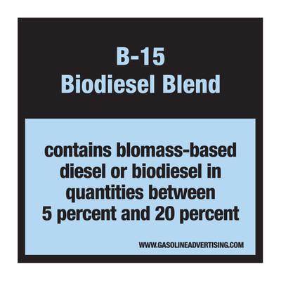 D-30-B15 Pump Ad. Panel Decal - B-15 BIODIESEL