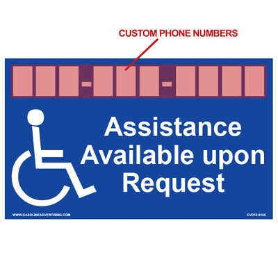 CVD12-016C ADA Decal - ASSISTANCE AVAILABLE...