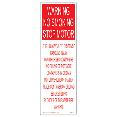 CVD-BJ3 Smoking & Flammable Warning Decal - WARNING NO SMOKING...