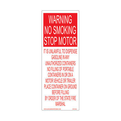 CVD-BJ4 Smoking & Flammable Warning Decal - WARNING NO SMOKING...