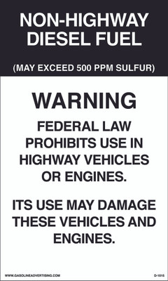 D1015 IRS Mandated Decal - NON-HIGHWAY...