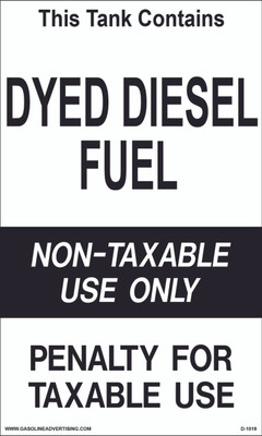 D1019 IRS Mandated Decal - THIS TANK CONTAINS DYED...