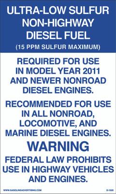 D1020 EPA Regulated Kerosene Decal - ULTRA-LOW SULFUR...