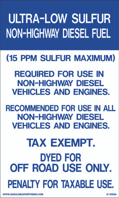 D1020A IRS Mandated Decal - ULTRA-LOW SULFUR...