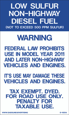 D1021A IRS Mandated Decal - LOW SULFUR...