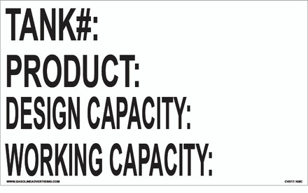 CVD17-156C - TANK CAPACITY DECALS