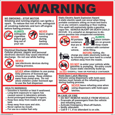 D-1212 Fueling Instruction Decal - WARNING...