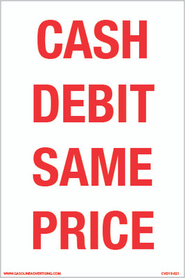 CVD19-022 - CASH DEBIT SAME PRICE