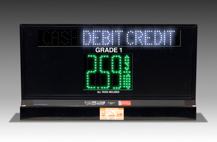 """1 GRADE XL100 SERIES CASH/CREDIT TOGGLING PUMP TOP LED FUEL PRICE SIGN WITH 4.75"""" LED DIGITS"""