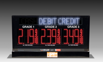 "3 GRADES XL300 SERIES CASH/DEBIT/CREDIT TOGGLING PUMP TOP LED FUEL PRICE SIGN WITH 4.75"" LED DIGITS"