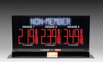"3 GRADES XL300 SERIES MEMBER/NON-MEMBER TOGGLING PUMP TOP LED FUEL PRICE SIGN WITH 4.75"" LED DIGITS"