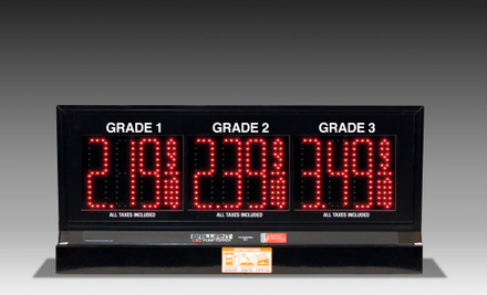 "3 GRADES XL300 SERIES PUMP TOP FUEL PRICE SIGN WITH 4.75"" LED DIGITS"