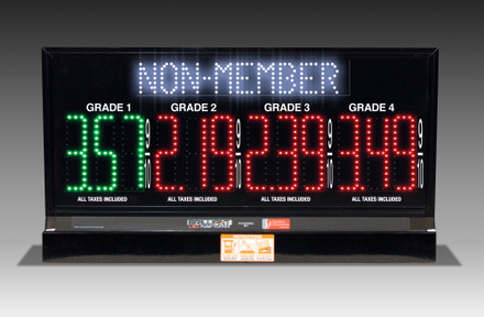 "4 GRADES XL480 SERIES MEMBER/NON-MEMBER TOGGLING PUMP TOP LED FUEL PRICE SIGN WITH 4.75"" LED DIGITS"