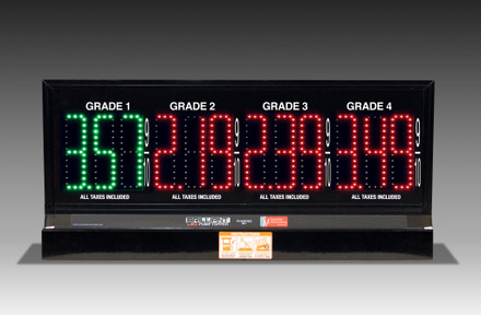 "4 GRADES XL480 SERIES PUMP TOP FUEL PRICE SIGN WITH 4.75"" LED DIGITS"
