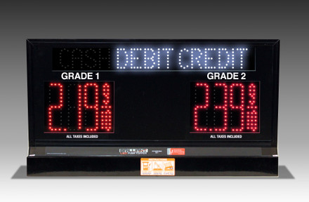"2 GRADES XL200 SERIES CASH/DEBIT/CREDIT TOGGLING PUMP TOP LED FUEL PRICE SIGN WITH 4.75"" LED DIGITS"