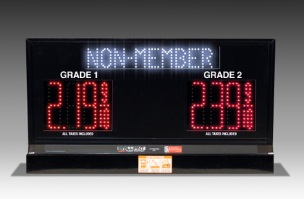 "2 GRADES XL200 SERIES MEMBER/NON-MEMBER TOGGLING PUMP TOP LED FUEL PRICE SIGN WITH 4.75"" LED DIGITS"