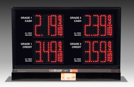 "2 GRADES XL240 SERIES 2 LEVELS PUMP TOP LED FUEL PRICE SIGN WITH 4.75"" LED DIGITS"