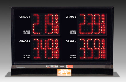 "4 GRADES  XL450 SERIES PUMP TOP FUEL PRICE SIGN WITH 4.75"" LED DIGITS"
