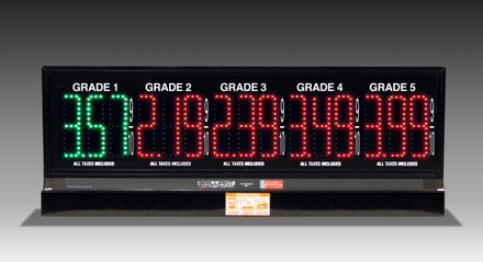 "5 GRADES XL500 SERIES PUMP TOP FUEL PRICE SIGN WITH 4.75"" LED DIGITS"