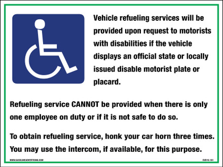 CVD19-181 - HANDICAP FUELING SERVICES DECAL