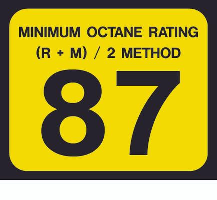 D-20-87 Octane & Cetane Rating Decal - MINIMUM OCTANE...