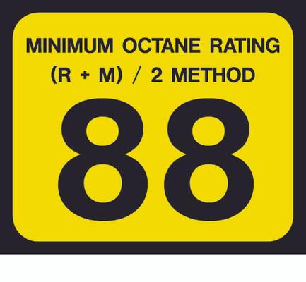 D-20-88 Octane & Cetane Rating Decal - MINIMUM OCTANE...