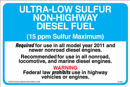 D-492 Non-Highway Diesel Decal - Ultra-Low Sulfur...