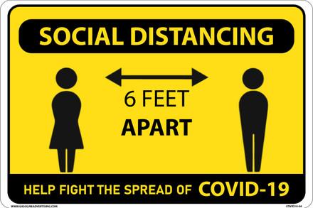 "CORONAVIRUS (COVID-19) - Social Distancing Sign 16"" W x 12"" H"