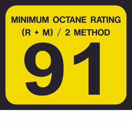 D-20-91 Octane & Cetane Rating Decal - MINIMUM OCTANE...