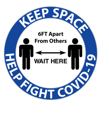 "CORONAVIRUS (COVID-19) - Keep Space Floor Marker 7.5"" Radius"