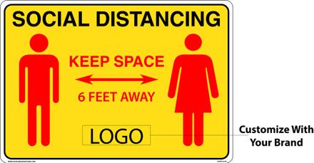 "CORONAVIRUS (COVID-19) - Social Distancing Floor Marker 20"" W x 14"" H"