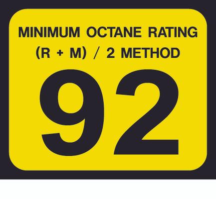 D-20-92 Octane & Cetane Rating Decal - MINIMUM OCTANE...