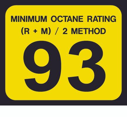 D-20-93 Octane & Cetane Rating Decal - MINIMUM OCTANE...
