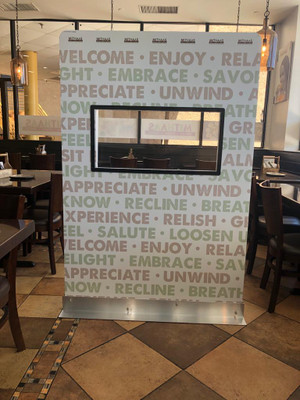 DIS-4872-9T - Dine In Social Distancing Screen with Clear Window for Restaurants