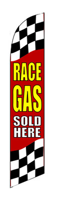 FF-312-028 - RACE GAS SOLD HERE Swooper Feather Flag for Outdoor Use