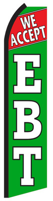 FF-312-034 - WE ACCEPT EBT Swooper Feather Flag for Outdoor Use
