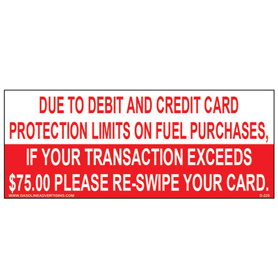 D-225 Payment Decal - PAY Due To Debit...