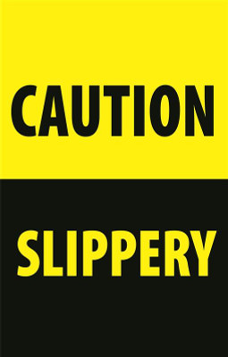 Caution Slippery - Curb Sign Insert
