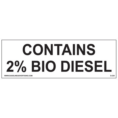 D-230 EPA Regulated Ethanol Decal - CONTAINS 2%...