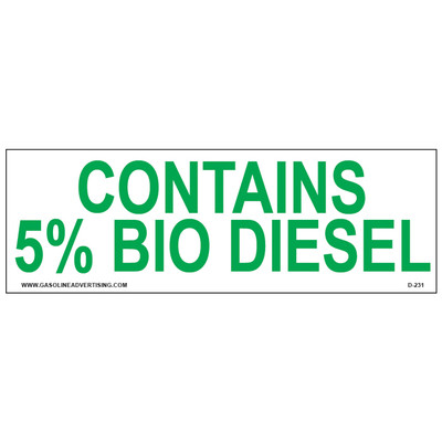 D-231 EPA Regulated Ethanol Decal - CONTAINS 5%...